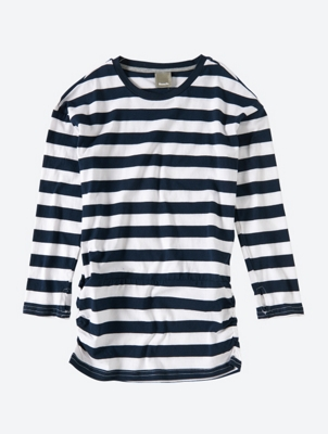 Striped Long Sleeve T-Shirt with Ruched Waistband