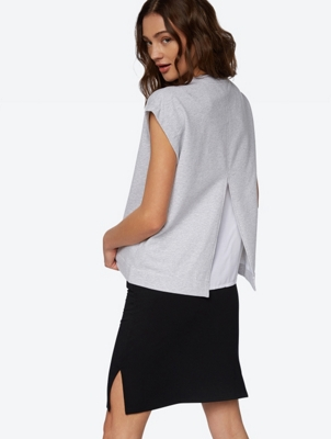 Soft Short-Sleeve Sweater with Back Slit
