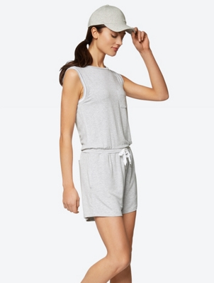 Casual Playsuit with Ribbon Drawstring Waist