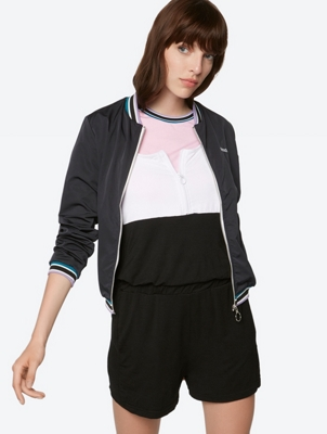 Plain Bomber Jacket with Colour-Contrasting Cuffs