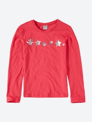 Long-Sleeve Top with Shiny Bench Print on the Front