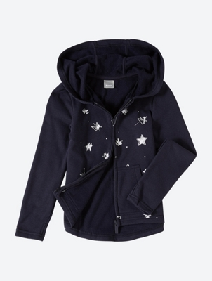 Sweat Jacket with Hood and Shiny Print on the Front