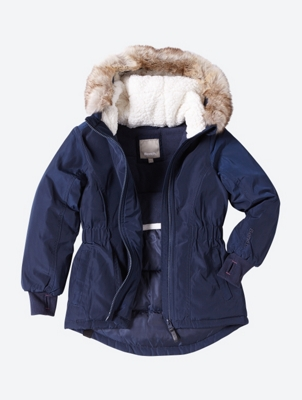 Tailored Parka Jacket with Faux-Fur Trim