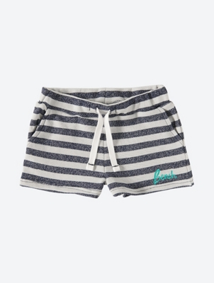Striped Shorts with Embroidered Logo