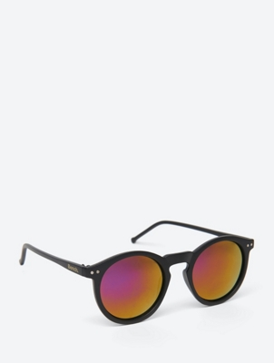 Round Mirrored Lens Sunglasses with Full Frame