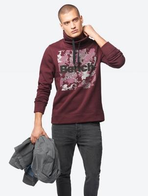 Sweatshirt mit Bench-Print und Kragen mit Tunnelzug