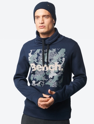 Sweatshirt with Bench Print and Collar with Drawstring