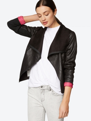 Suede Look Waterfall Biker Jacket