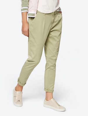 Cropped Length Tapered Chino Trousers