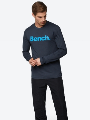 Sporty Designed Long-Sleeve Shirt with Bench Print on the Chest