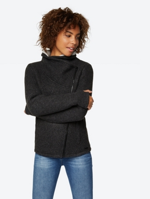 Knitted Fleece Jacket with Asymmetric Zip