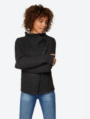 Strickfleece-Jacke mit asymmetrischem Zipper