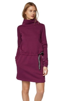 Sweat Dress with Standing Collar and Drawstring