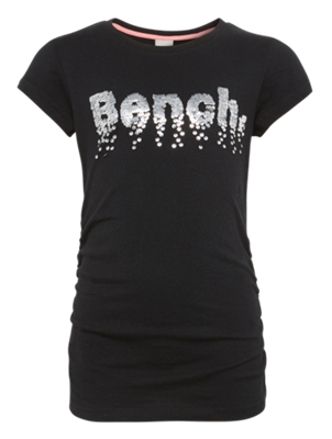 T-shirt with Bench Lettering Made of Inverted Sequins on the Front
