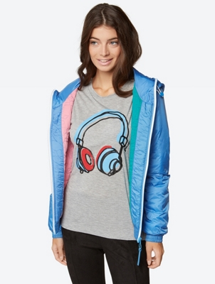 T-Shirt with Headphone Print and Metallic Fibres