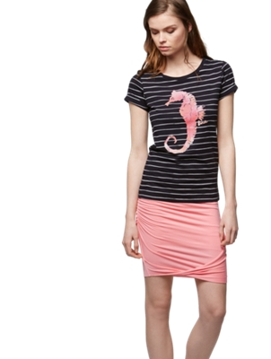 T-Shirt with Stripe Pattern and Maritime Print