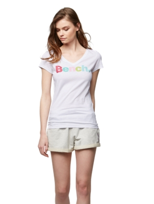 T-Shirt with Colourful Bench Lettering