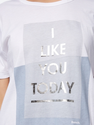 T-Shirt with Glittery Lettering Print