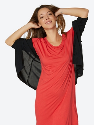 T-Shirt-Dress Bewilderment with Wide Crew Neck