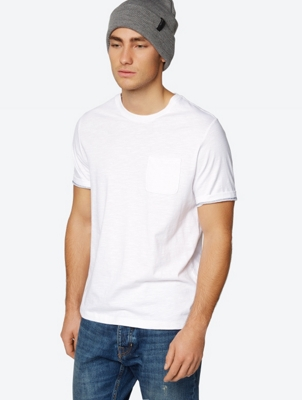Plain T-Shirt with Mottled Yarn Structure