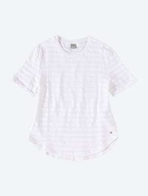 Unifarbenes T-Shirt mit transparenten Streifen