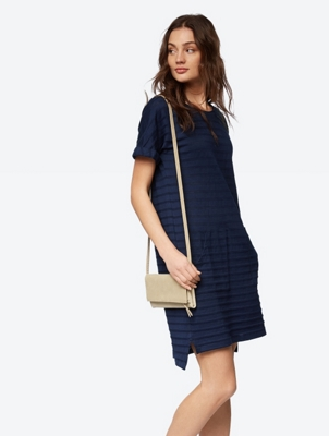 Plain Dress with Transparent Stripes
