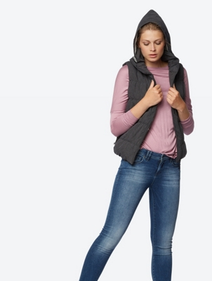 Quilted Gilet with Asymmetrical Zip