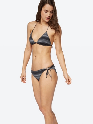 Patterned Bikini Bottoms with Ribbon on the Side