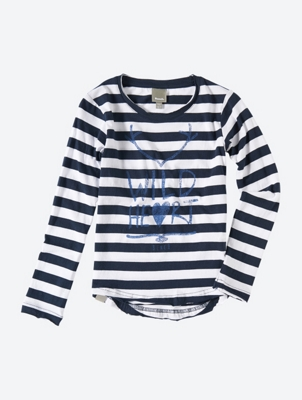 Striped Long Sleeve Shirt with Print
