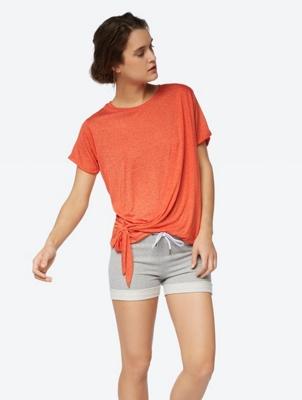 Melange T-Shirt mit Knoten
