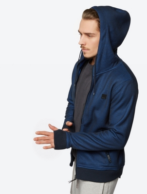 Hooded Knit Jacket Section with Contrast Lining