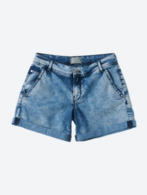 Acid-Wash Look Denim Shorts Unbeatable with Rolled Hems