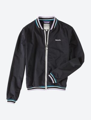 Unifarbene Blouson-Jacke mit kontrastfarbenen Abschlüssen
