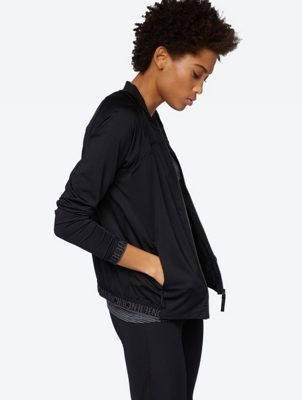 Plain Bomber Jacket with Textured Panel