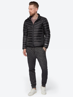 Plain Quilted Jacket with Down Lining