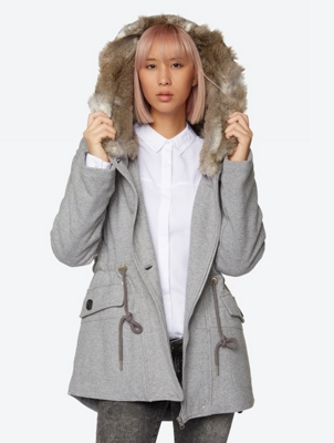 Single Coloured Coat Argot with Lined Hood