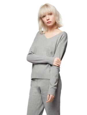 Unifarbener Pullover mit V-Ausschnitt