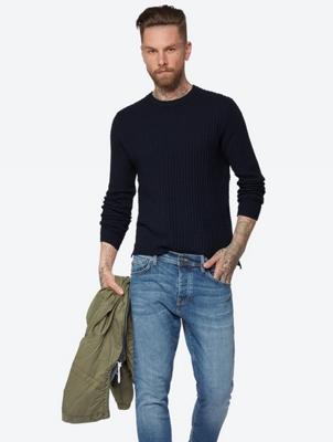 Unifarbener Pullover mit Waffelstruktur