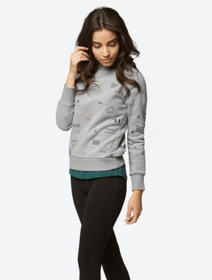 Sweatshirt with Colour-Contrasting Allover Embroidery