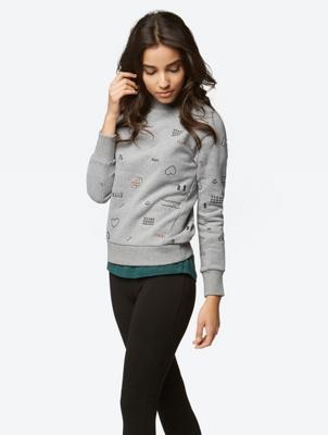 Sweatshirt mit farblich abgesetzten Allover-Stickereien