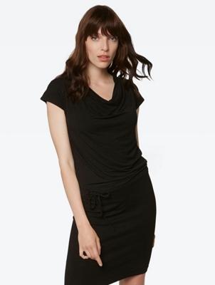Plain Jersey Dress with Drawstring Waist
