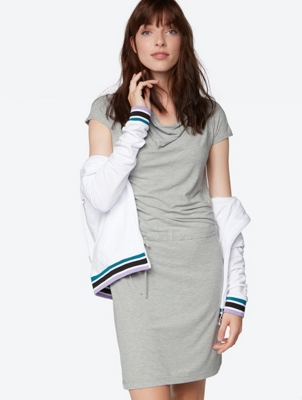 Plain Jersey Dress with Drawstring Waist