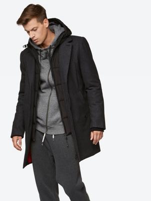 Mantel im Layer-Look und mit Kapuze