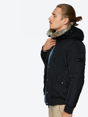 Lined Bomber Jacket Wrestle with Faux Fur Trim