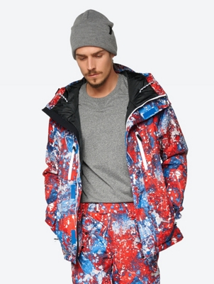 Waterproof Ski Jacket with All Over Pattern