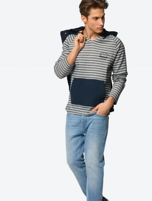 Striped Hoodie with Contrasting Kangaroo Pocket