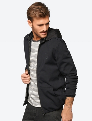 Sporty Sweat Jacket with Taffeta Hood