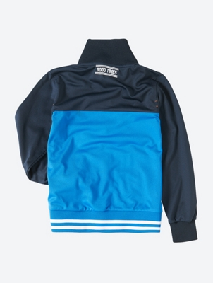 Two-Tone Sweat Jacket with High Standing Collar