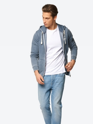 Melange Sweat Jacket with Divided Kangaroo Pocket