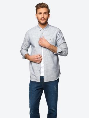 Two Tone Shirt with Slim Kent Collar